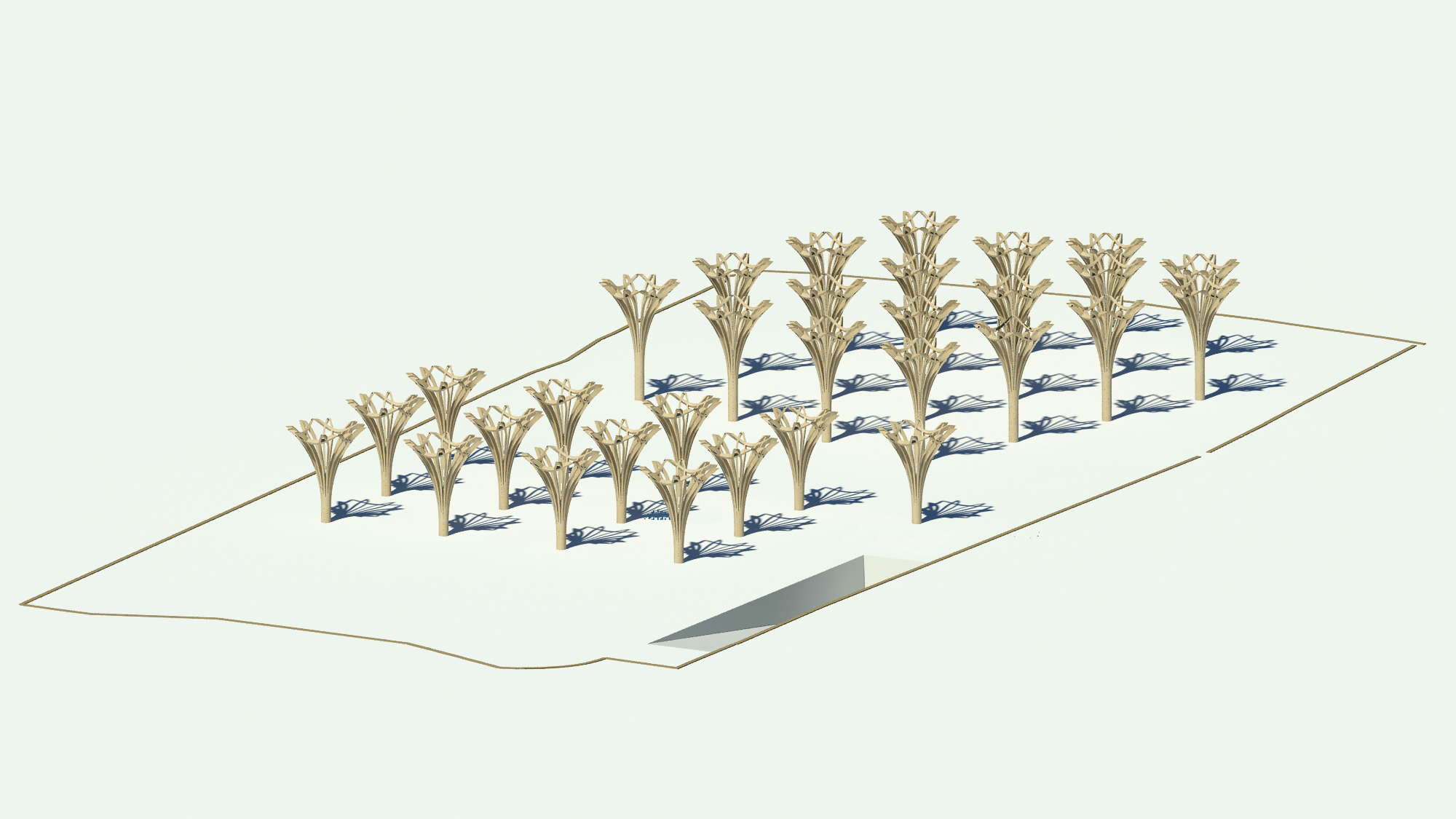 Cropped Tree Structure. The Cambridge Mosque by Marks Barfield Architects