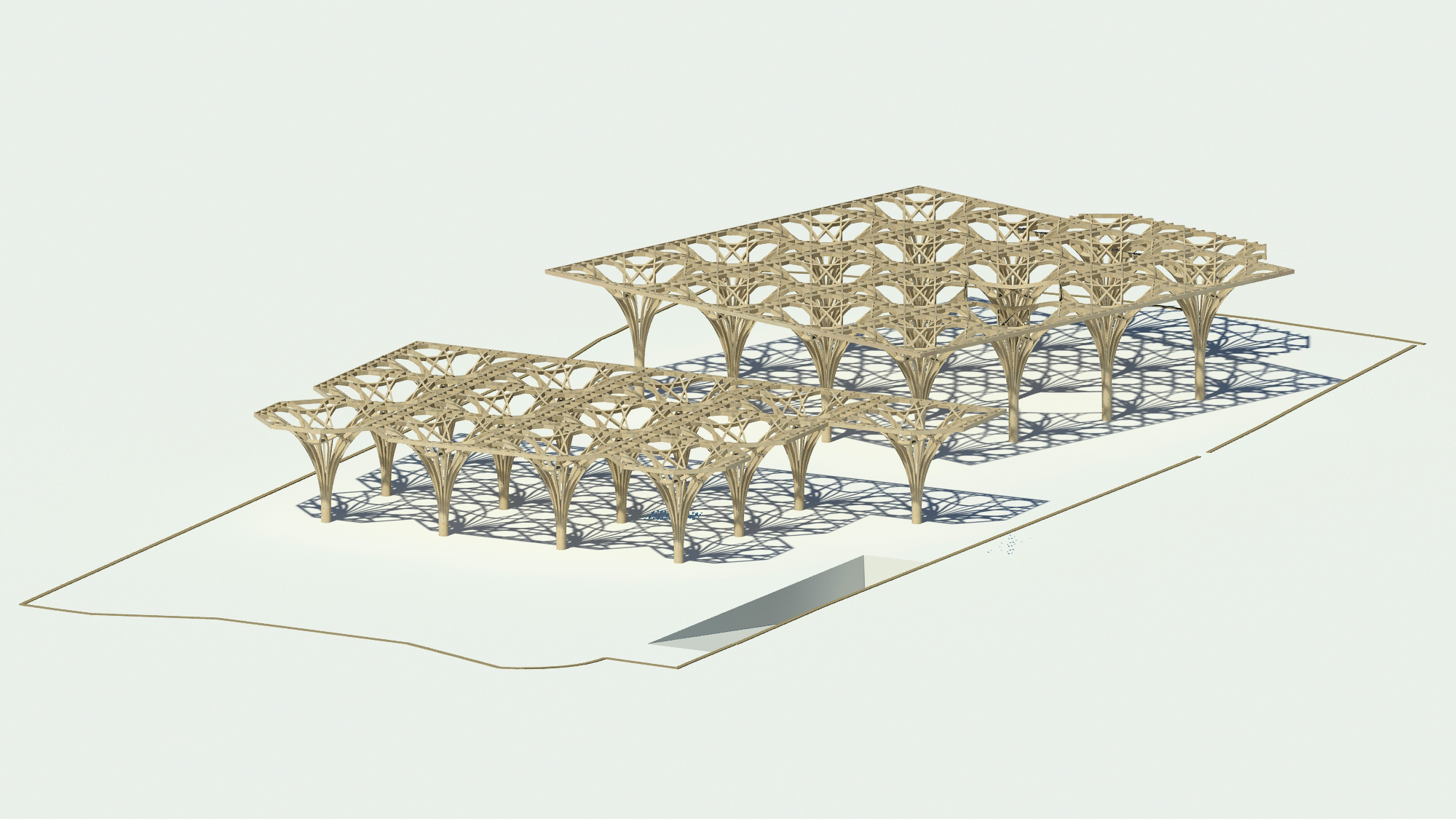 Tree Structure and Roof. The Cambridge Mosque by Marks Barfield Architects