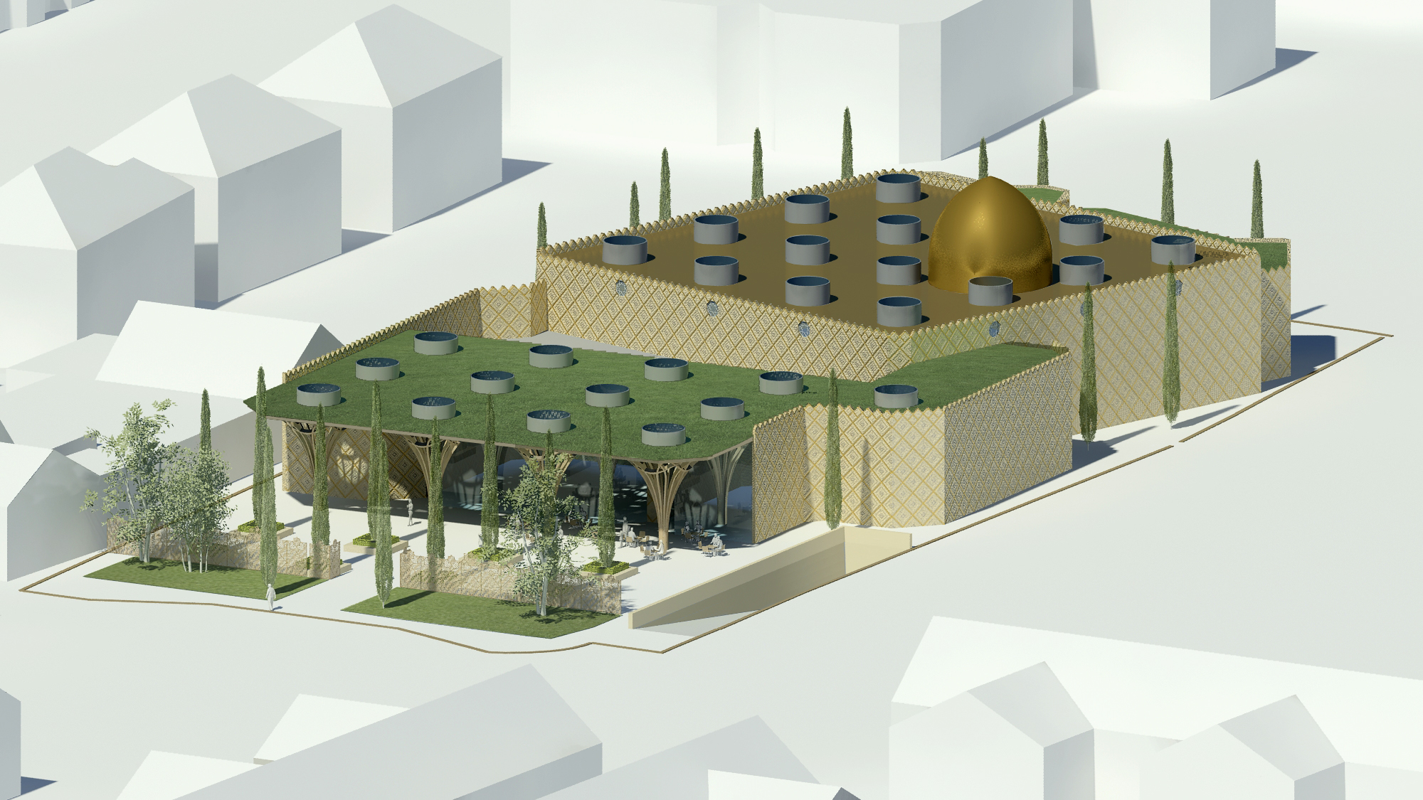 Mosque and Landscape. The Cambridge Mosque by Marks Barfield Architects