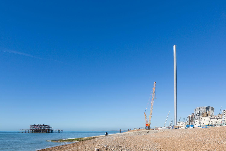 Construction Oct 2015. Brighton i360 by Marks Barfield Architects.