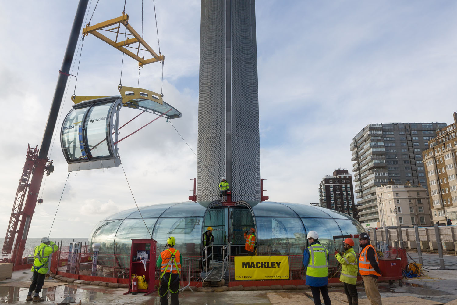 Door being lifted for assembly. Brighton i360 by Marks Barfield Architects.