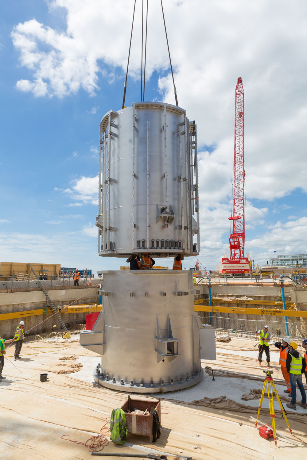 2nd can being moved into place. The 1st and 2nd can went in on the 15th June 2015. The 2nd can was ahead of schedule as it was meant to go in on 16th June.