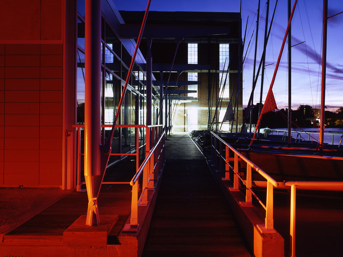 dusk view - Stoke Newington Watersports Centre by Marks Barfield Architects