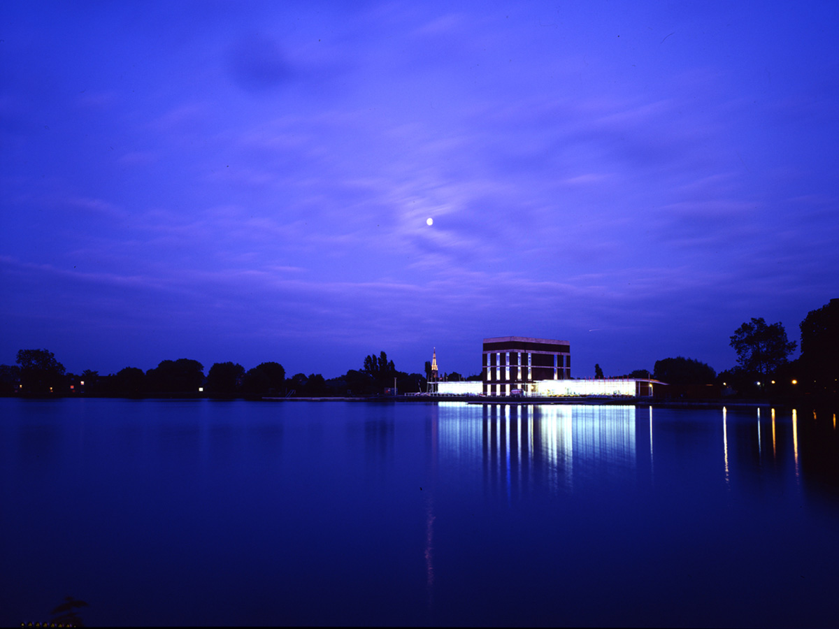 distant view from reservoir - Stoke Newington Watersports Centre by Marks Barfield Architects