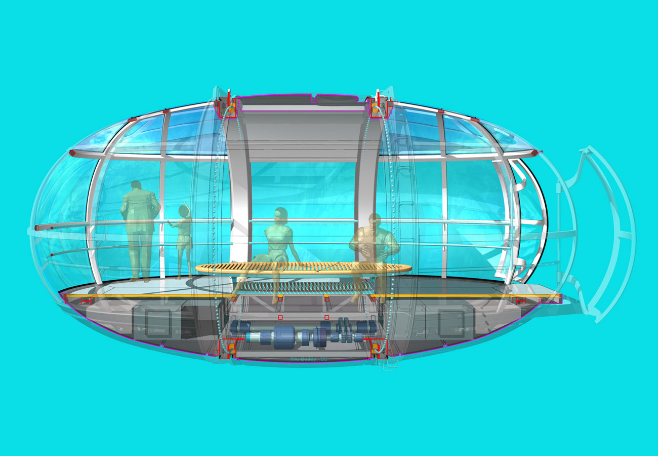 Nic Bailey's - Section through the capsule showing the drive mechanism and heating and cooling equipment under the floor - The London Eye by Marks Barfield Architects