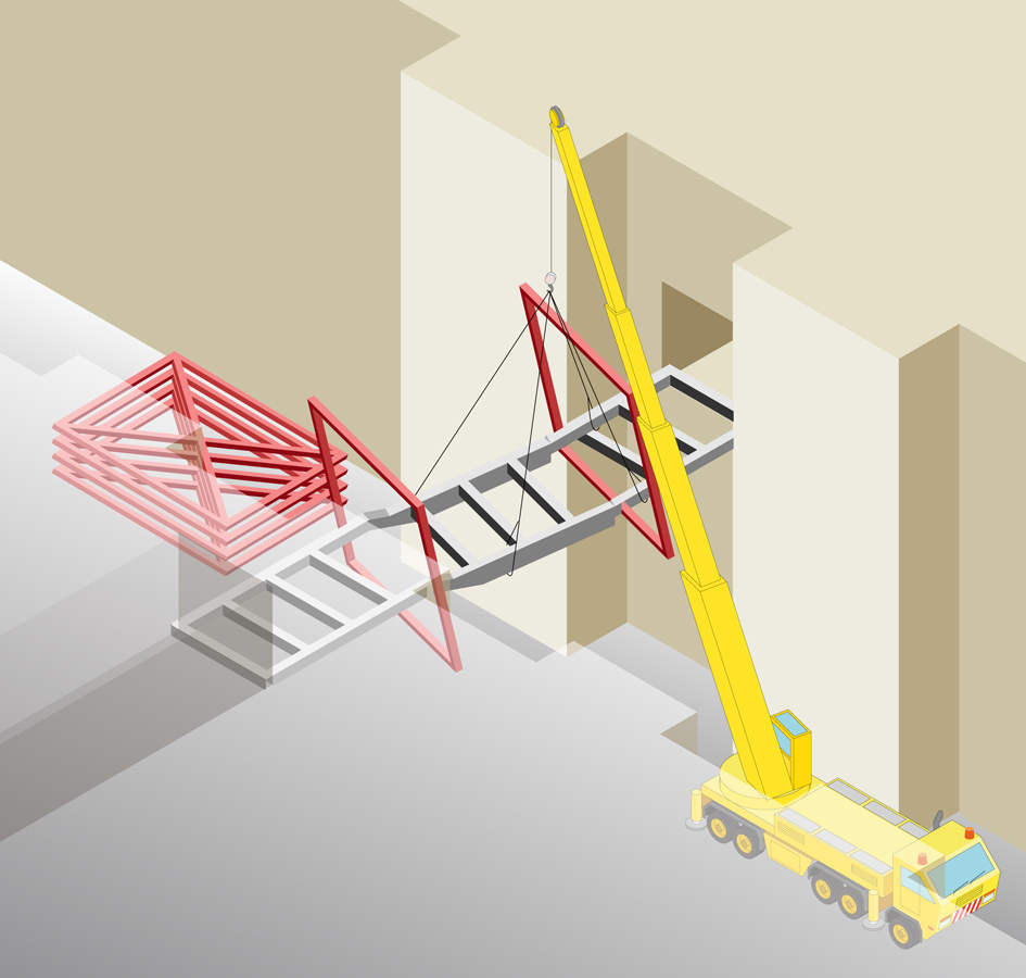 cube structure erection - Link Bridge by Marks Barfield Architects
