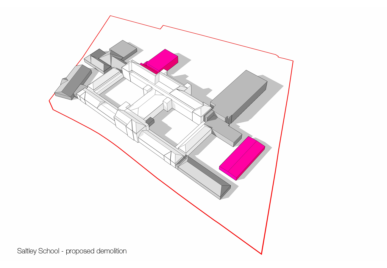 demolition diagram - Saltley Secondary School by marks Barfield Architects