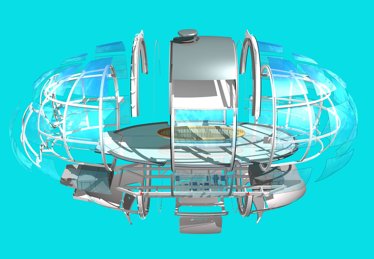 Nic Bailey's - Exploded 3D of the capsule, showing all the main elements - The London Eye by Marks Barfield Architects