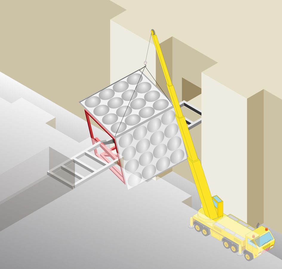 cladding erection - Link Bridge by Marks Barfield Architects
