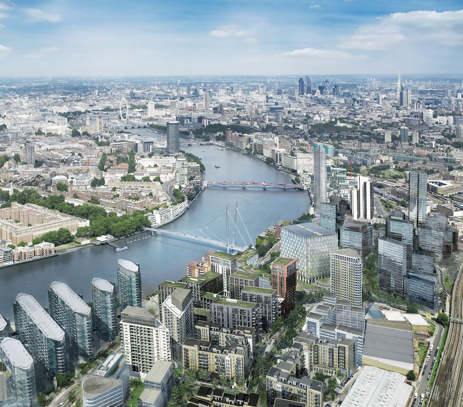 Nine Elms to Pimlico Bridge by Marks Barfield Architects