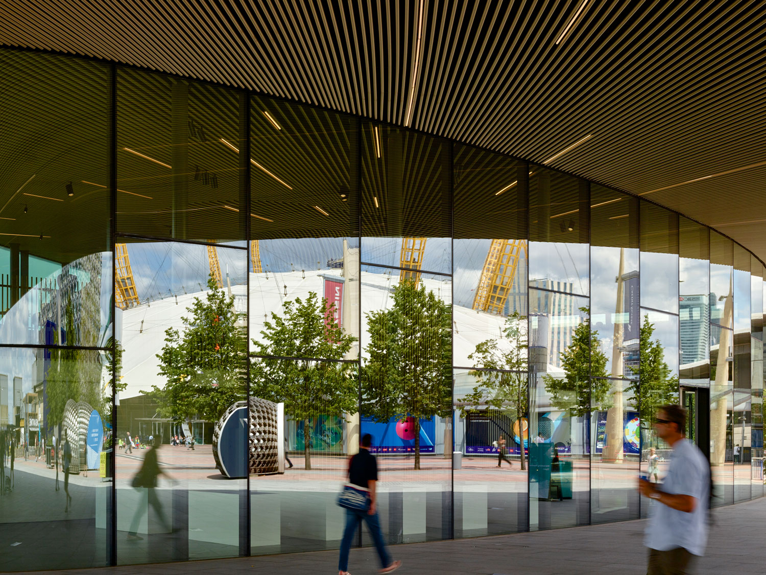 curved glass cladding - Greenwich Gateway Pavilions by Marks Barfield Architects