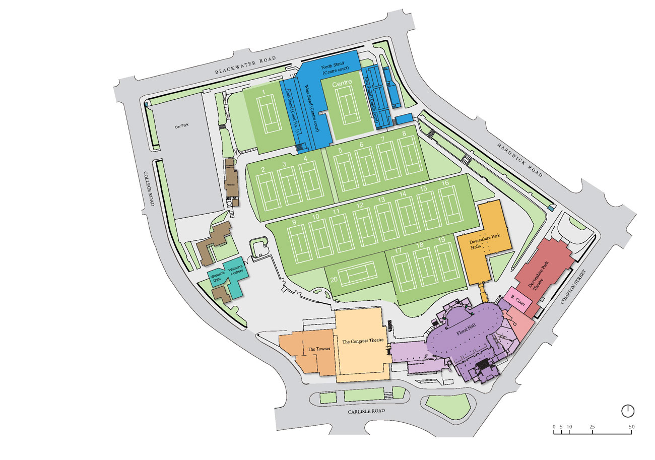 site plan - Devonshire Park by Marks Barfield Architects