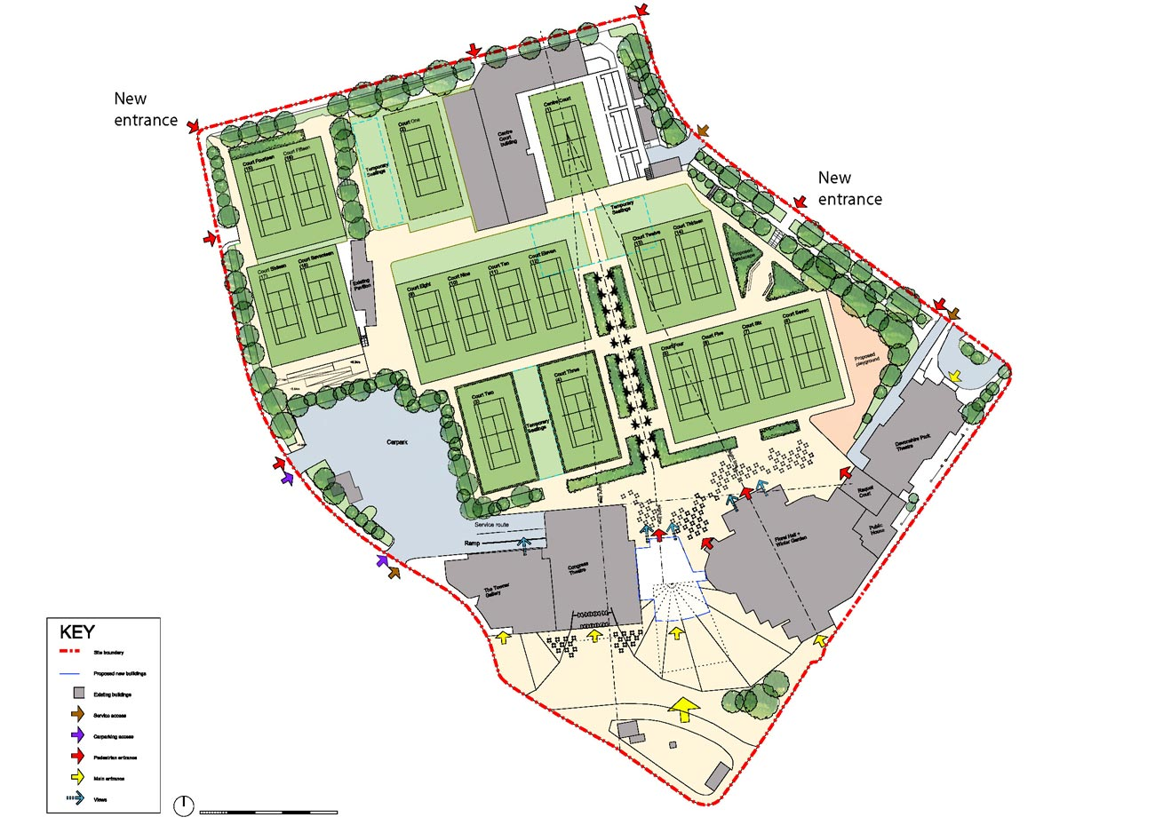 access site plan - Devonshire Park by Marks Barfield Architects