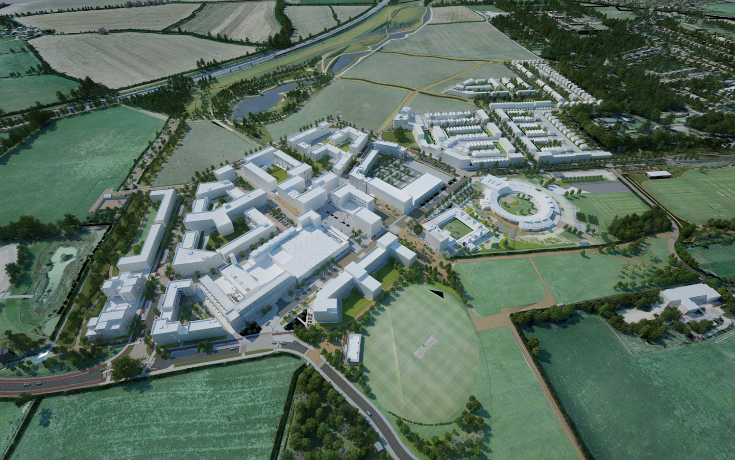 aecom birds eye 3D - University of Cambridge Primary School by Marks Barfield Architects