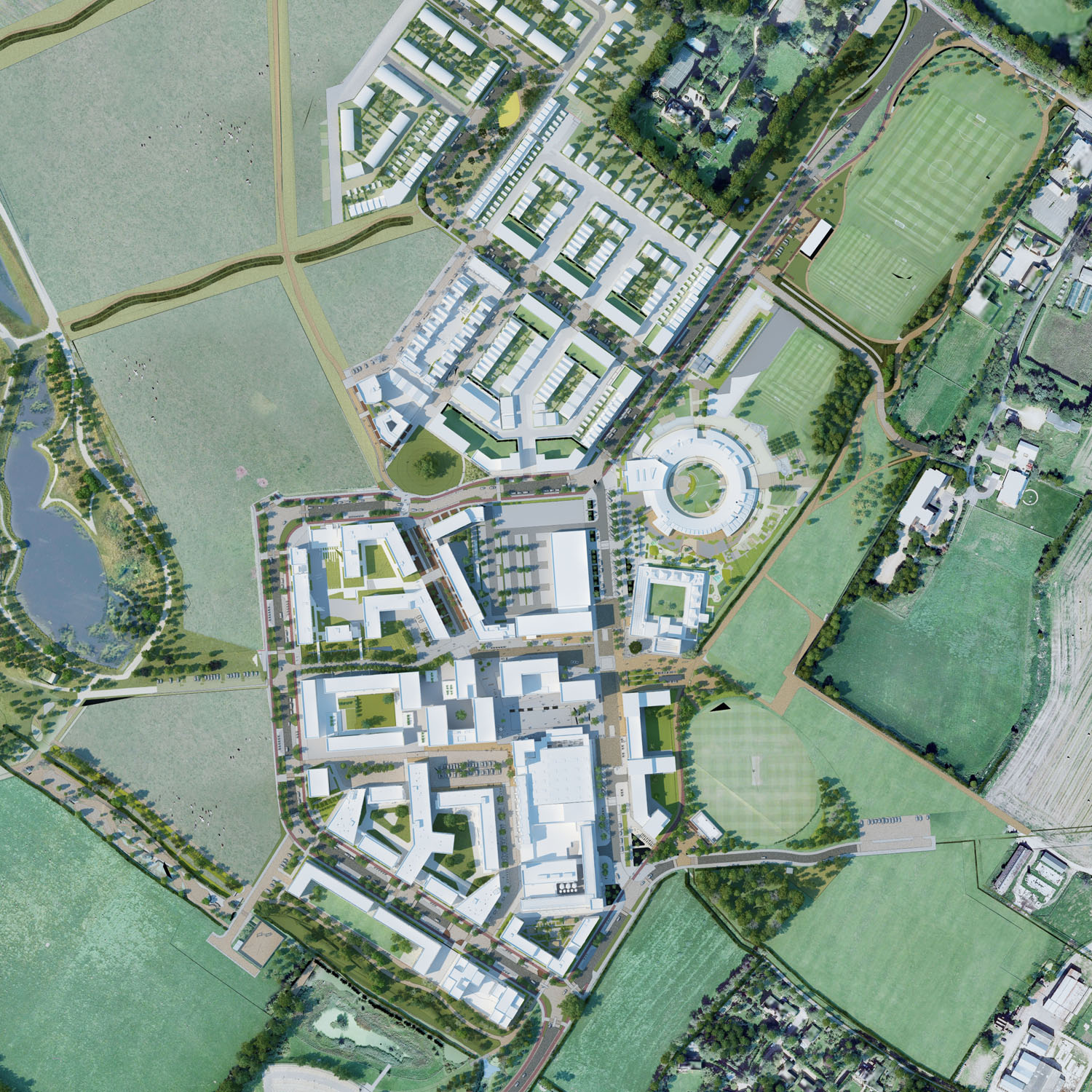 aecom masterplan 3D - University of Cambridge Primary School by Marks Barfield Architects