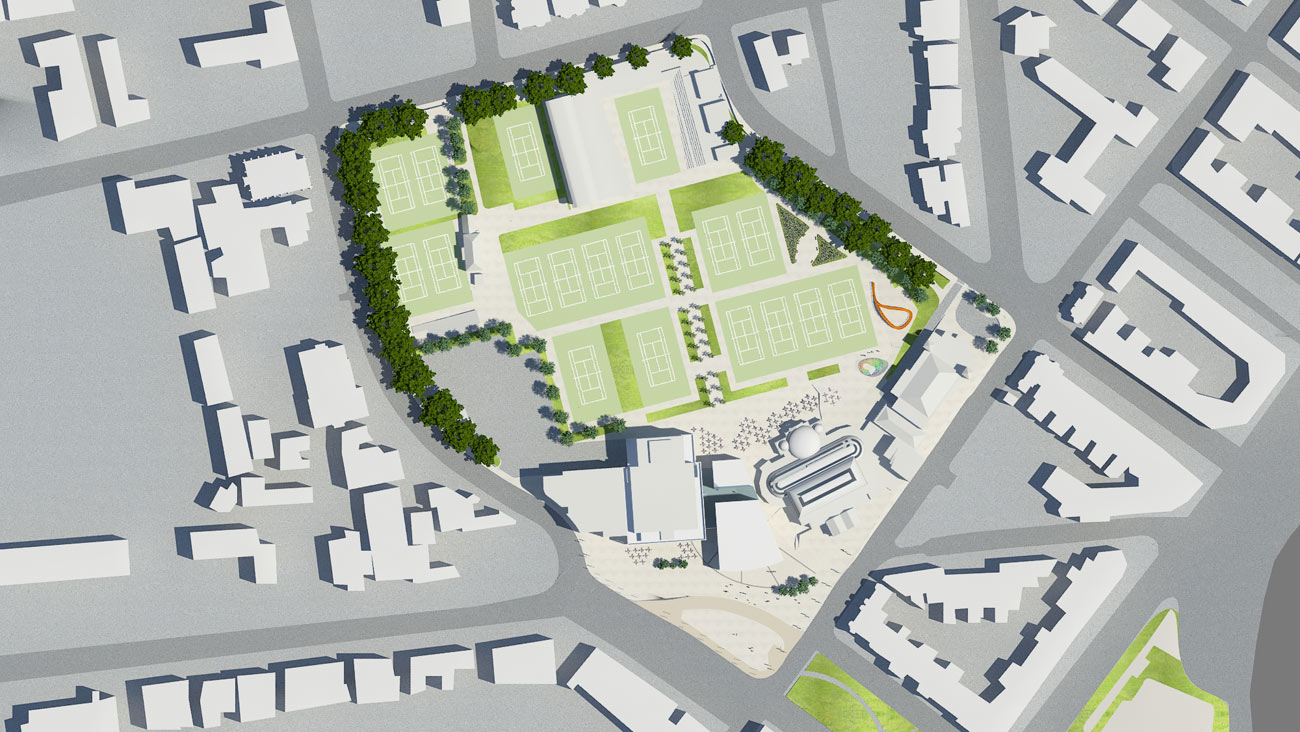 top site proposed view - Devonshire Park by Marks Barfield Architects