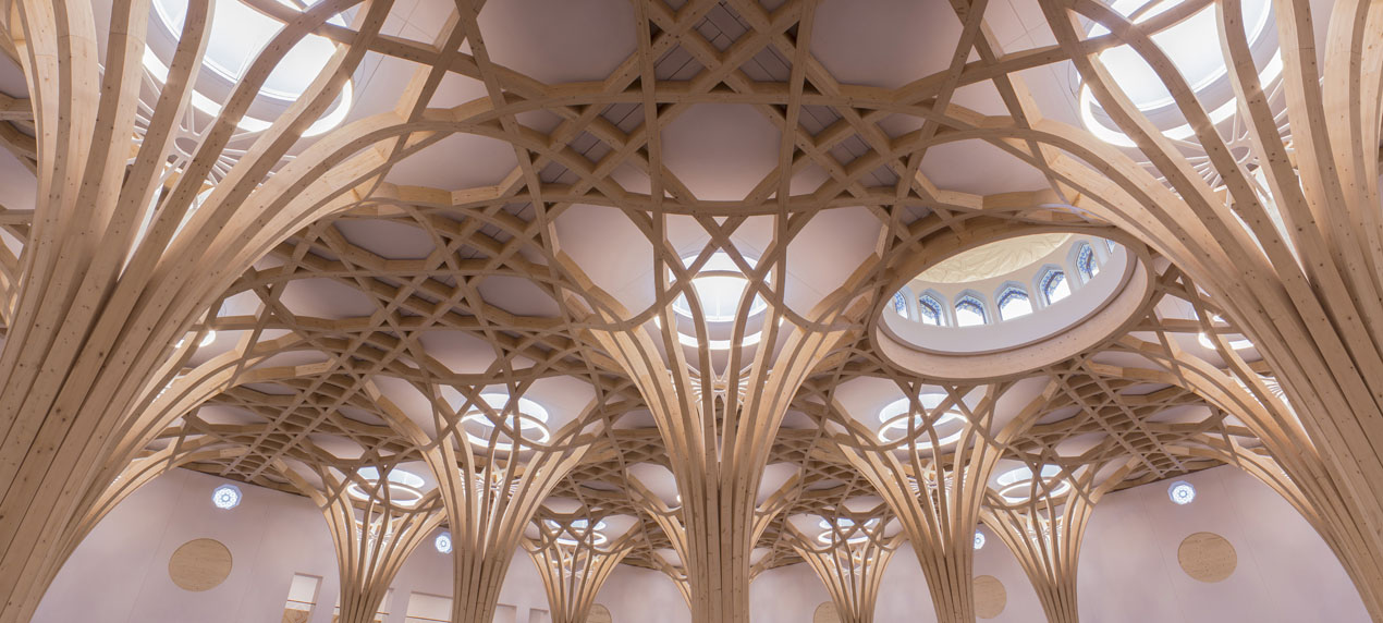 View looking up at the trees timber structure and dome - The Cambridge Mosque by Marks Barfield Architects