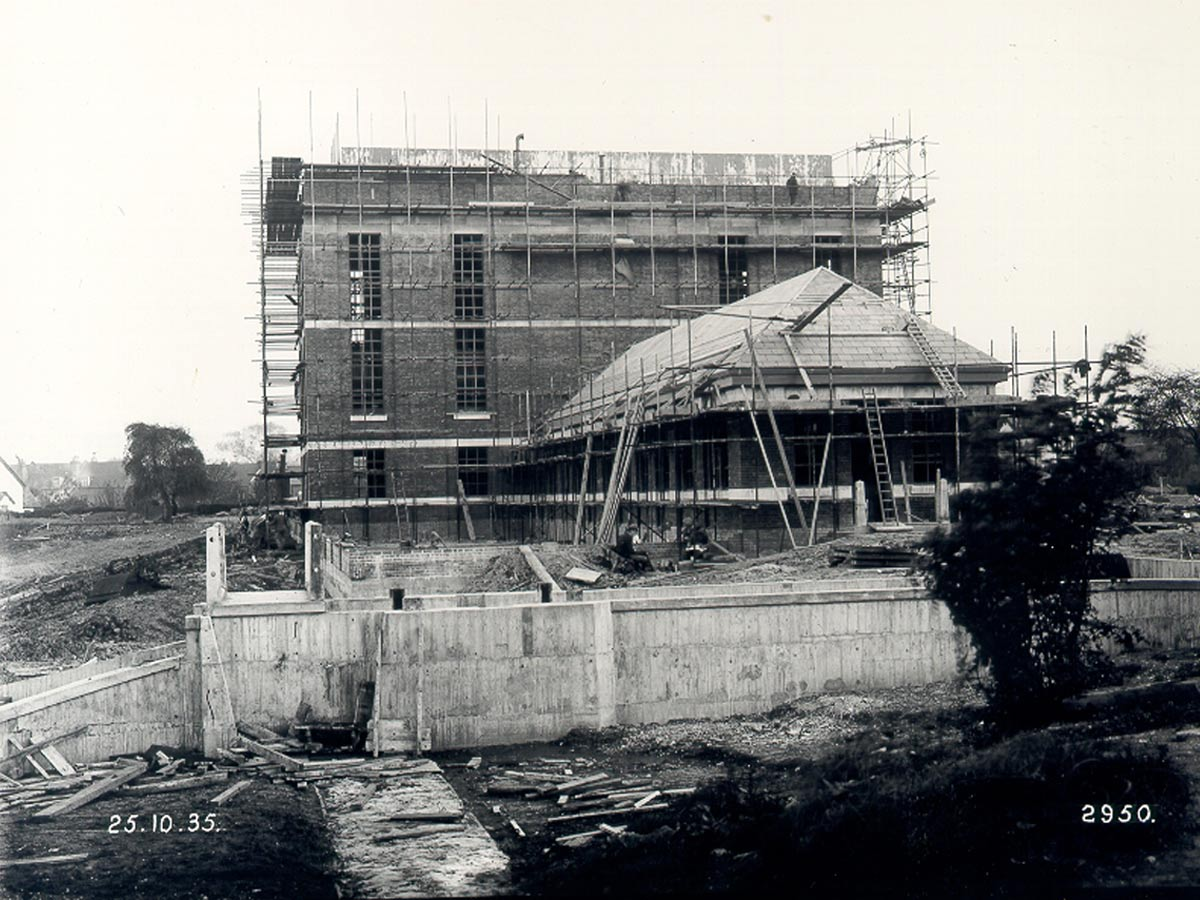original building construction - Stoke Newington Watersports Centre by Marks Barfield Architects