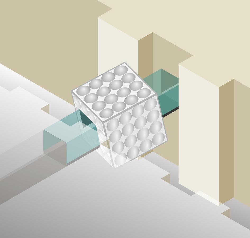 axonometric - Link Bridge by Marks Barfield Architects