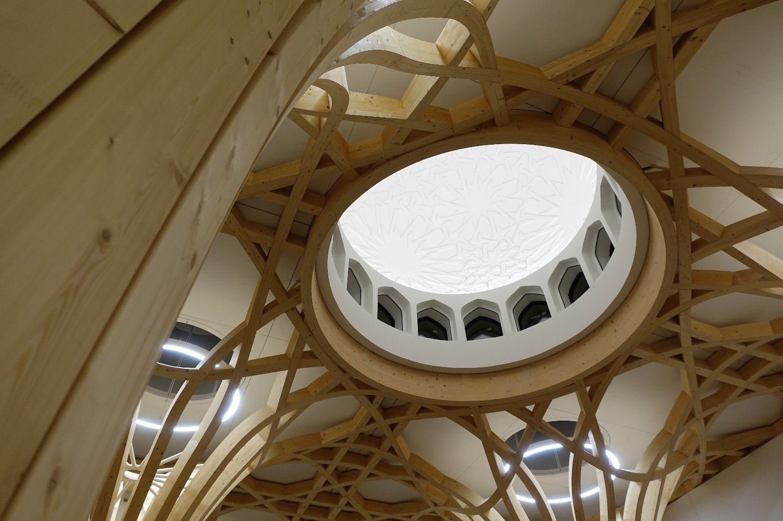 Dome and tree. The Cambridge Mosque by Marks Barfield Architects