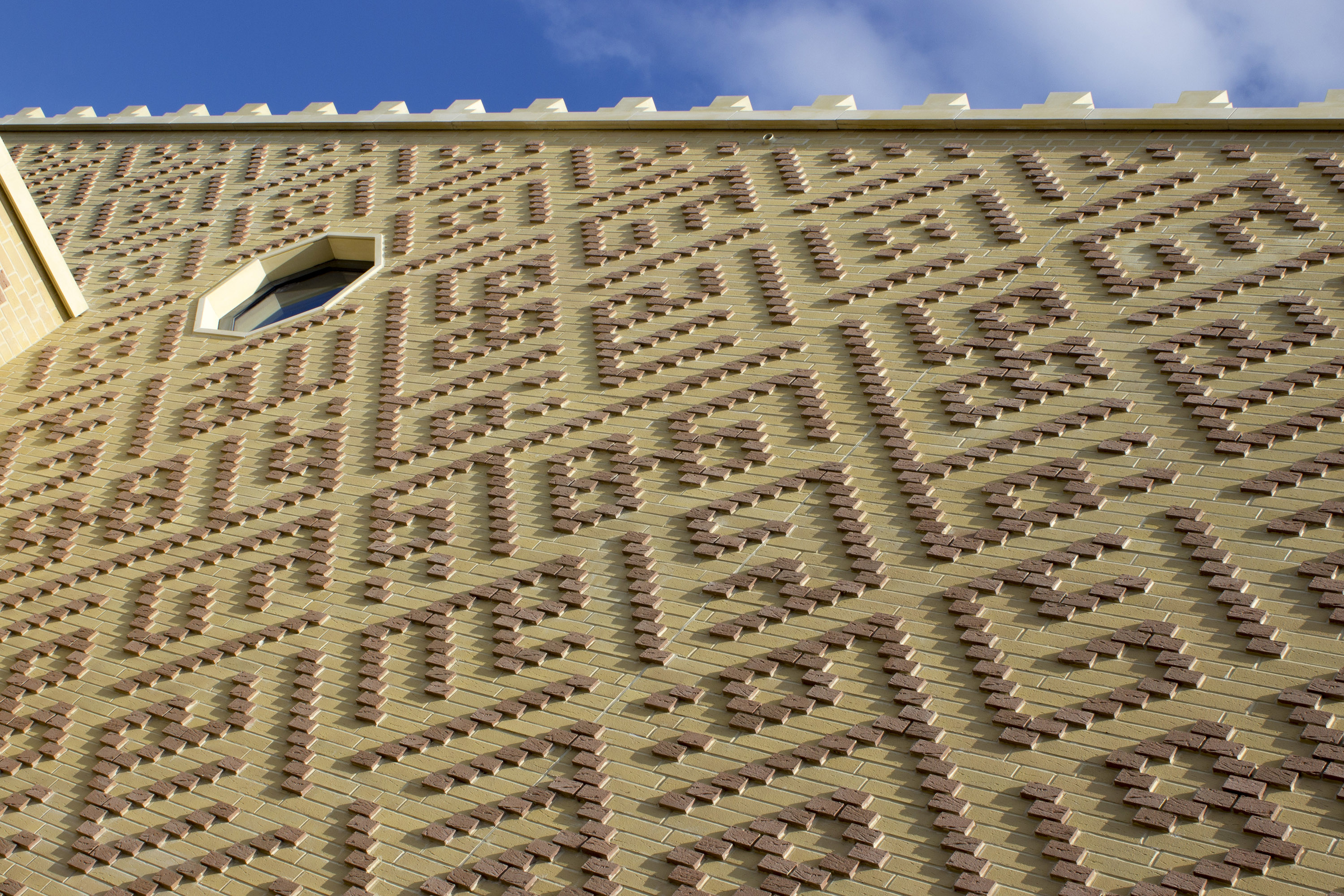 Brick wall pattern. The Cambridge Mosque by Marks Barfield Architects