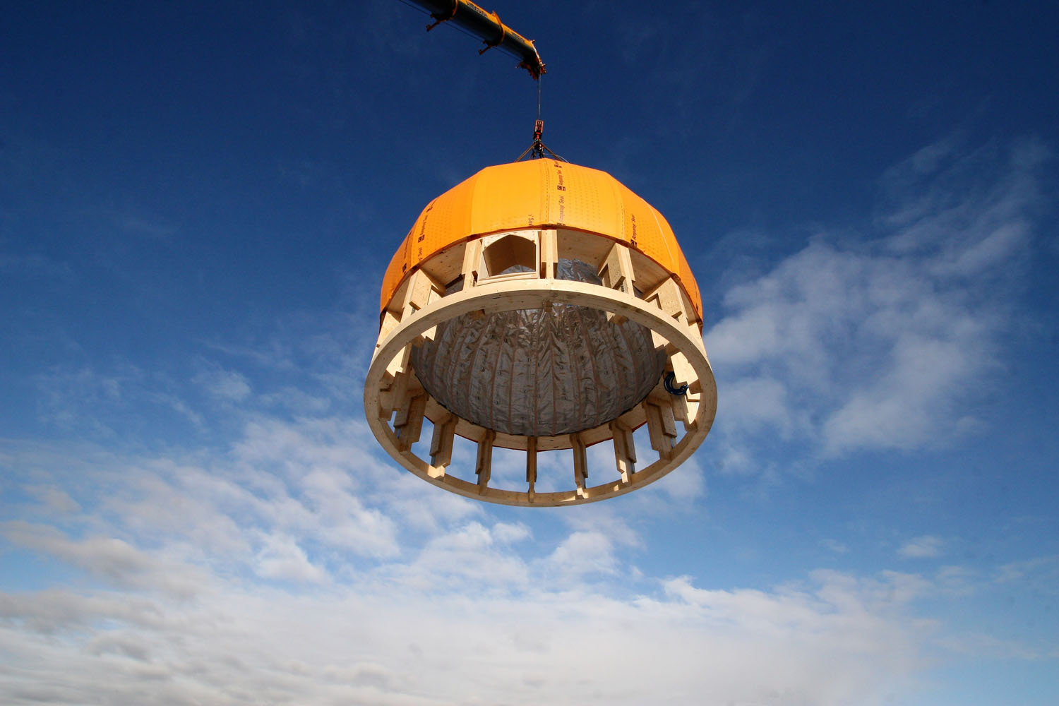 Dome topping ceremony. The Cambridge Mosque by Marks Barfield Architects