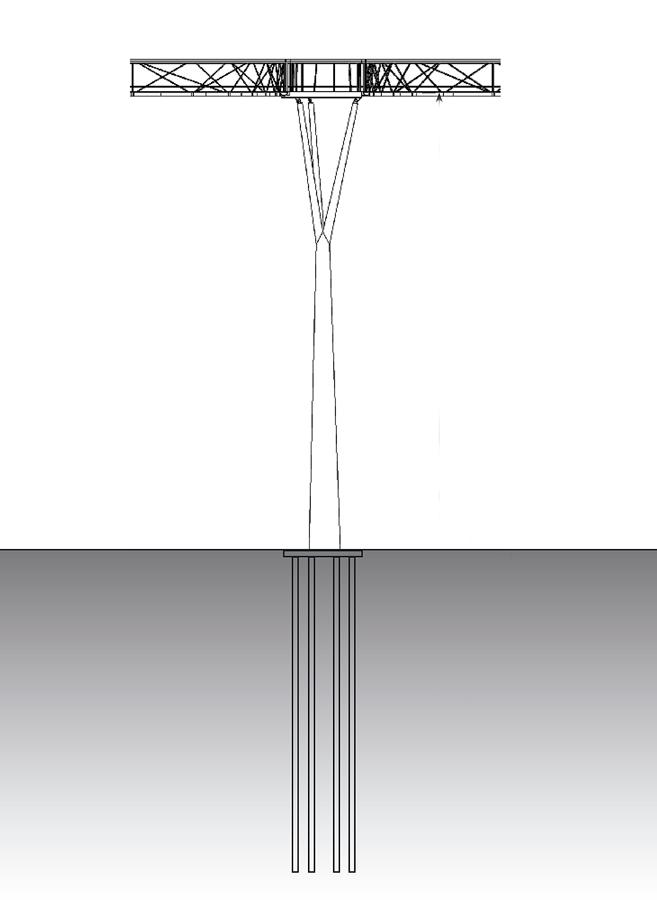 Pylon elevation - Kew Gardens Treetop Walkway by Marks Barfield Architects