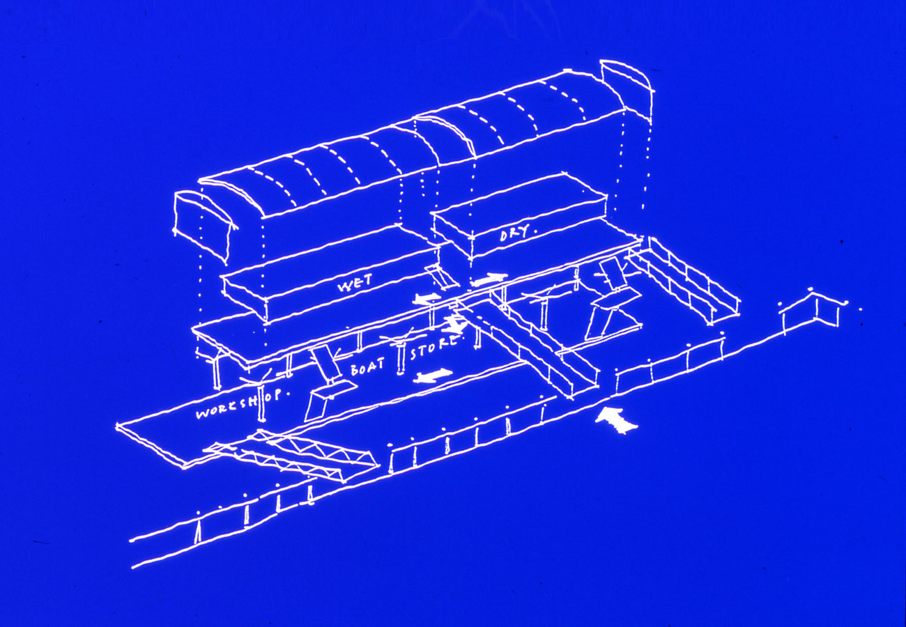 axonometric sketch Liverpool Watersports Centre by Marks Barfield Architects