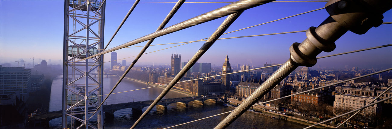 View from the centre towards Westminster - The London Eye by Marks Barfield Architects