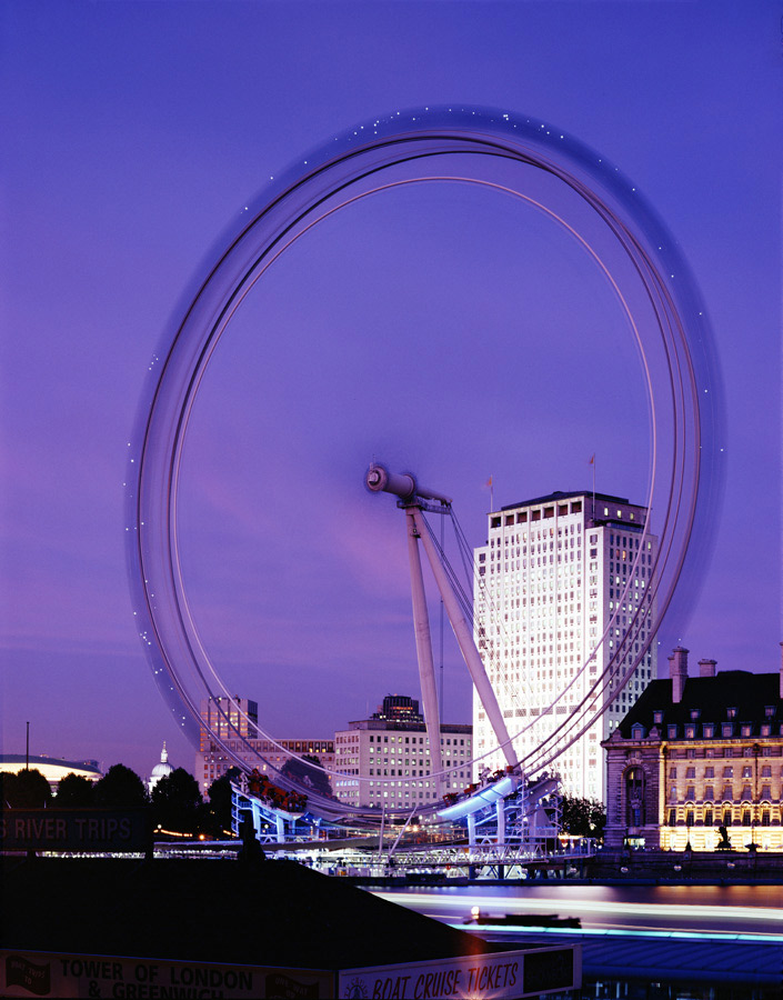 View from Waterloo north bank. The London Eye by Marks Barfield Architects
