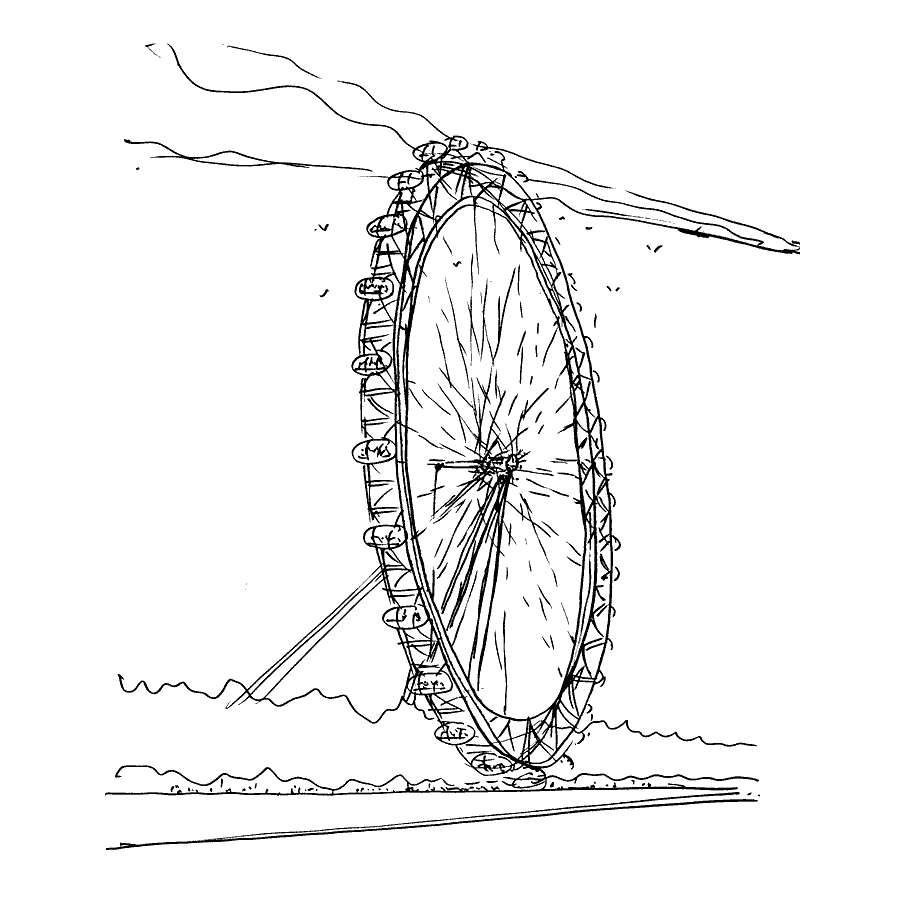 David Marks Sketch - The London Eye by Marks Barfield Architects