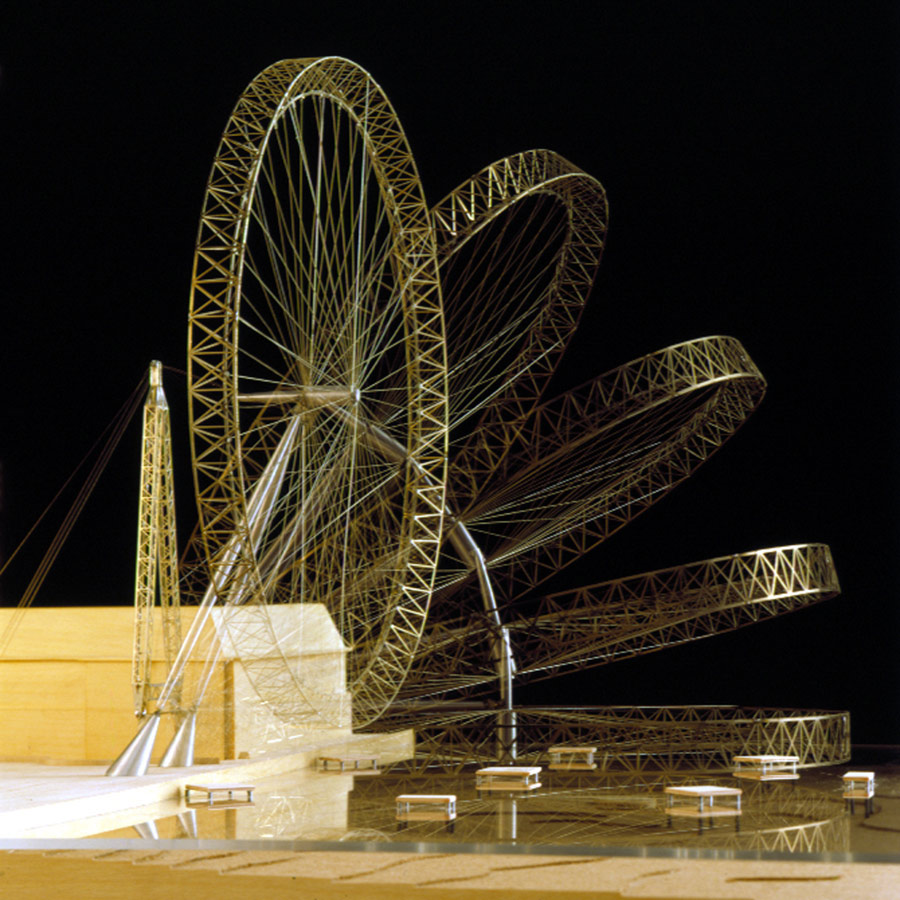 Physical model simulating the erection process - The London Eye by Marks Barfield Architects