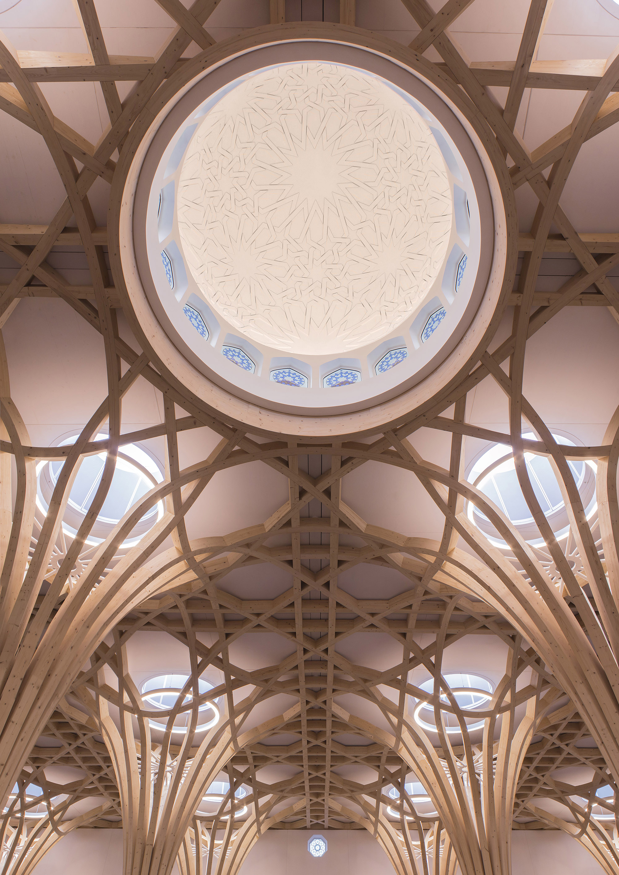 Dome from the prayer hall. The Cambridge Mosque by Marks Barfield Architects