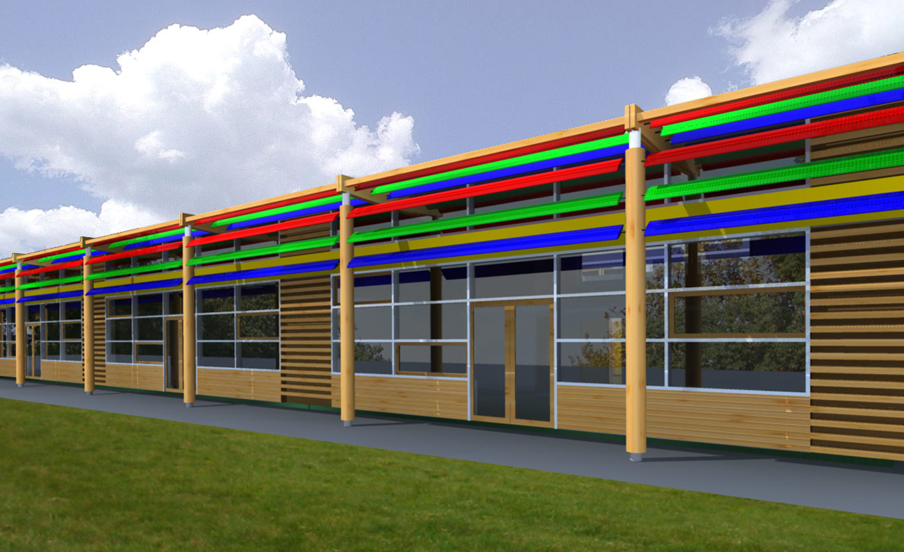 facade CGI view - Michael Tippett School by Marks Barfield Architects