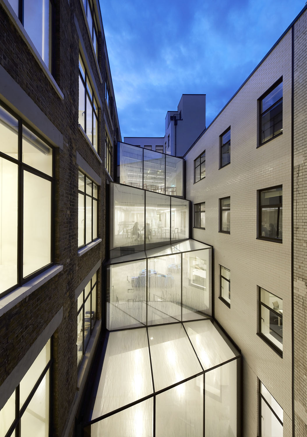 atrium exterior night shot - 82 Baker Street by Marks Barfield Architects
