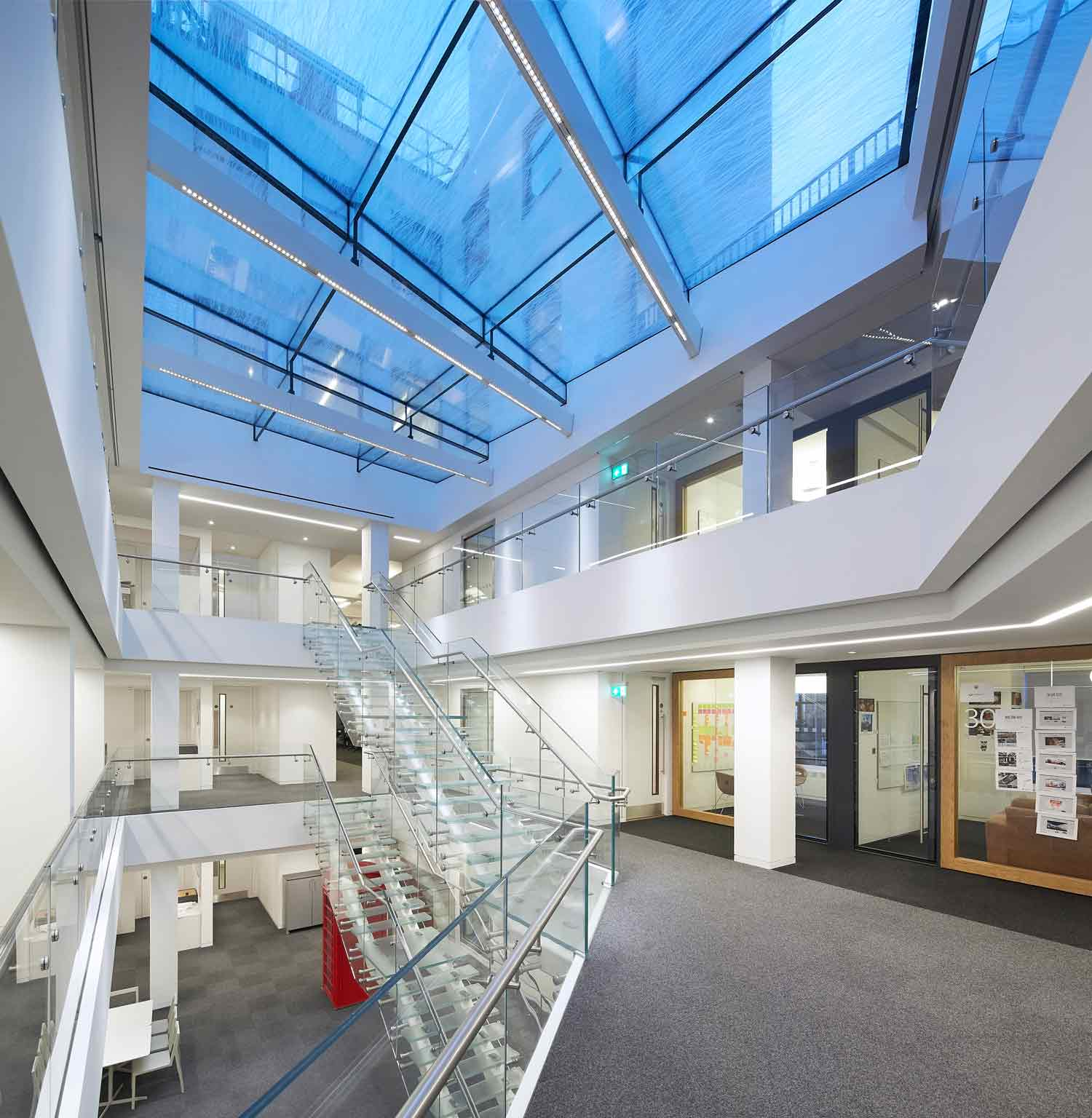 atrium internal view - 82 Baker Street by Marks Barfield Architects