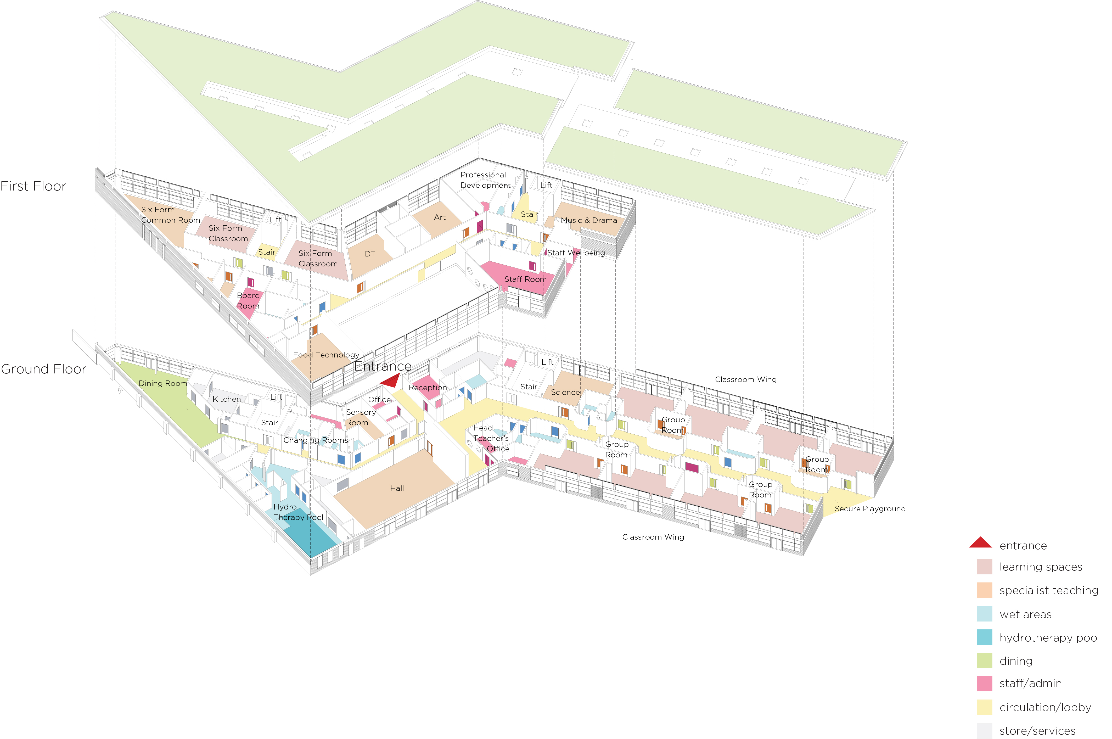 expanded axonometric - Michael Tippett School by Marks Barfield Architects