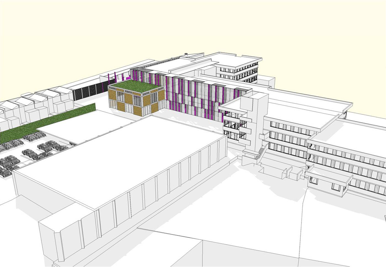 massing - Lambeth BSF, Norwood Secondary School by Marks Barfield Architects
