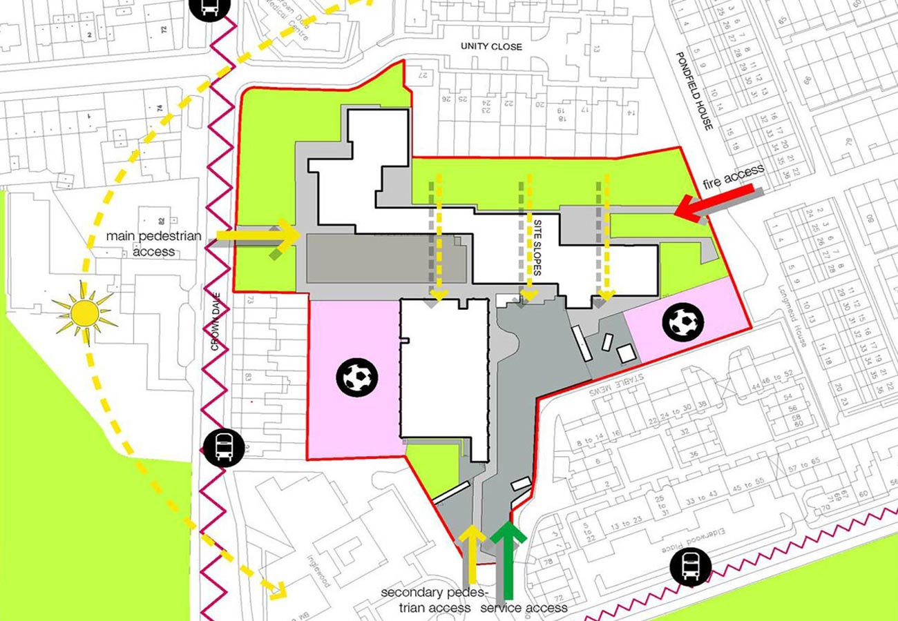 site analysis - Lambeth BSF, Norwood Secondary School by Marks Barfield Architects