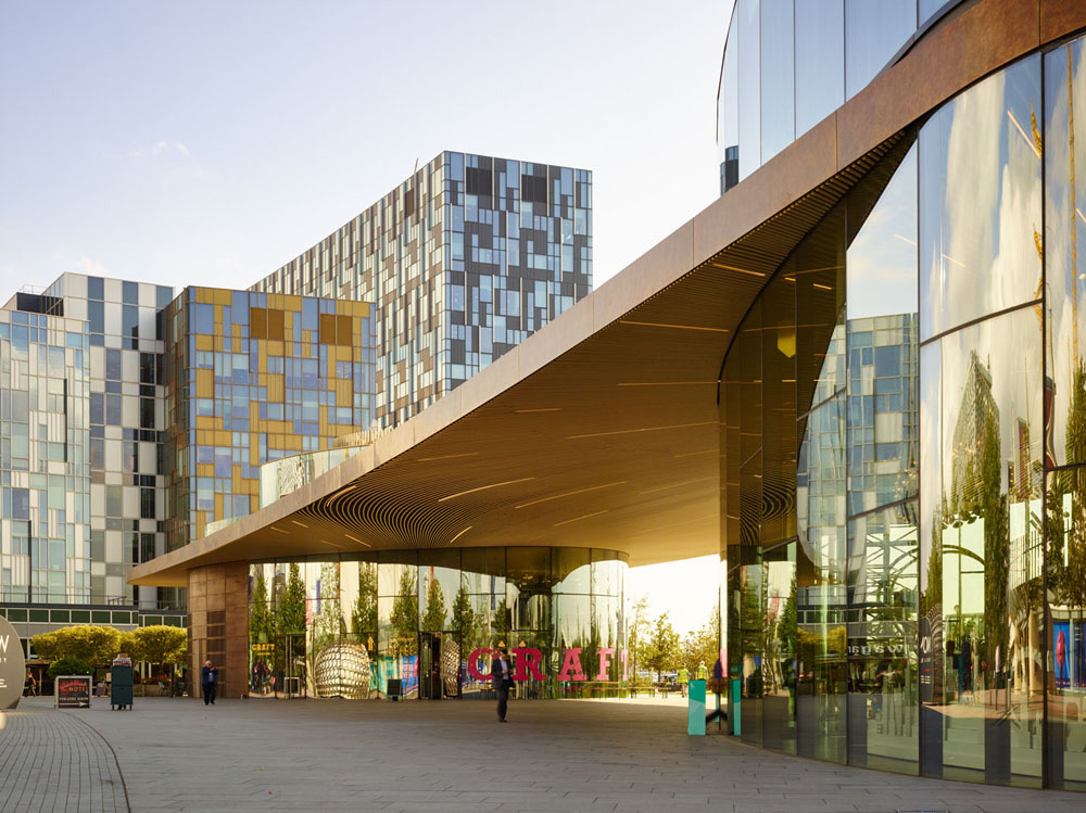clear span canopy - Greenwich Gateway Pavilions by Marks Barfield Architects