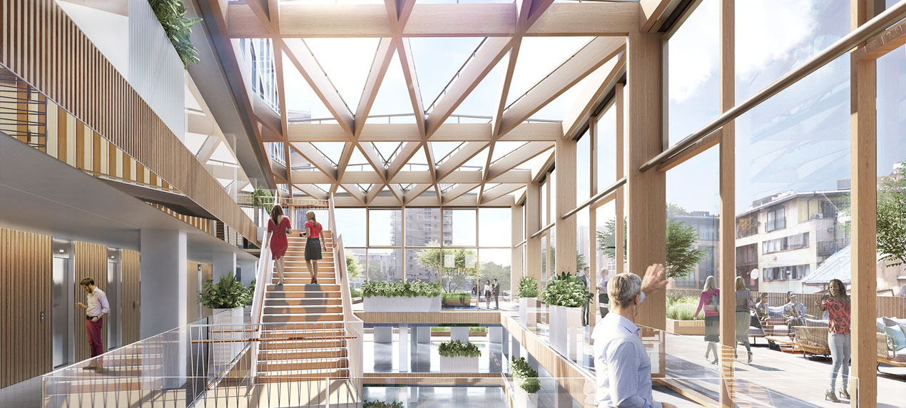 Atrium Top View - Stephenson House by Marks Barfield Architects