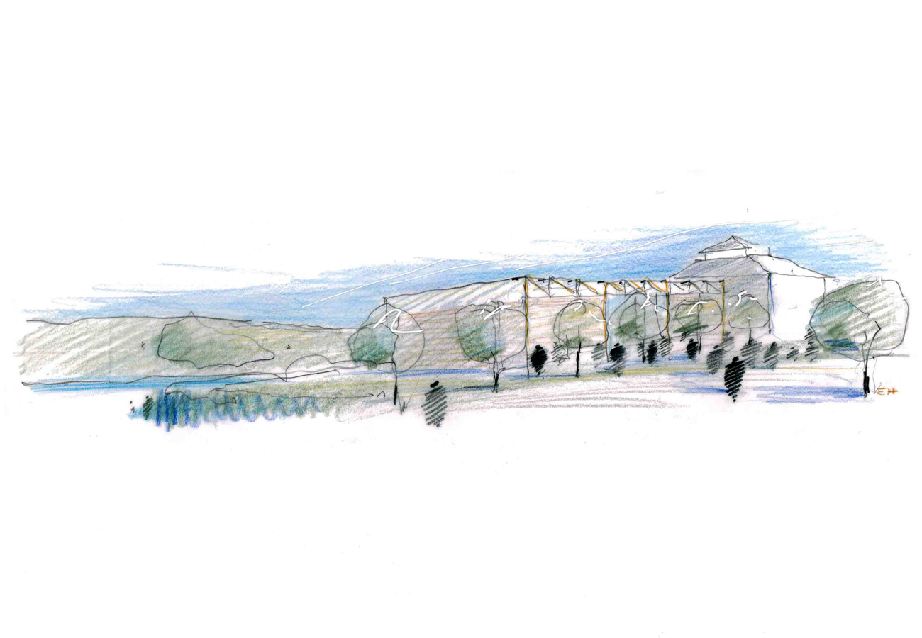 sketch - Merchant Taylors' School by Marks Barfield Architects