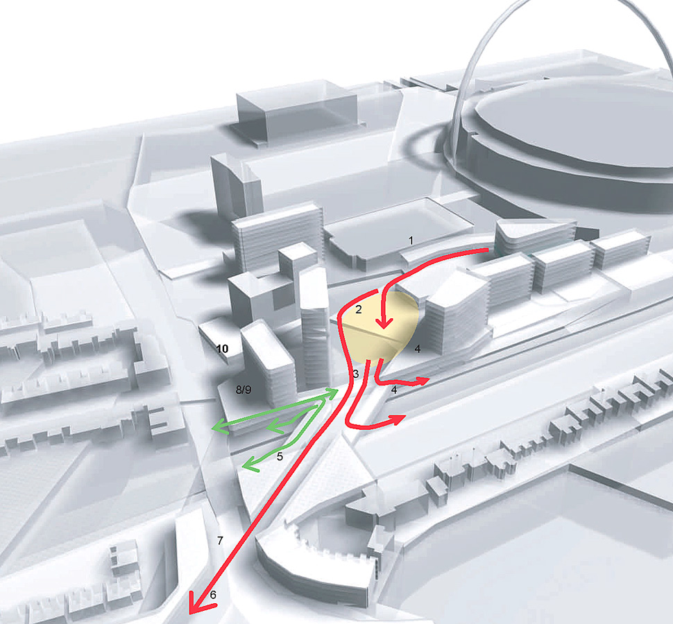 circulation flow - Wembley White Horse Bridge & Public Realm by Marks Barfield Architects
