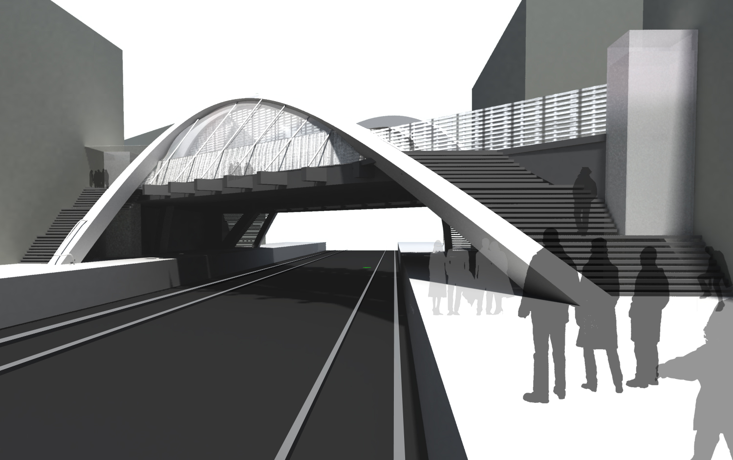 bridge 3d view - Wembley White Horse Bridge & Public Realm by Marks Barfield Architects