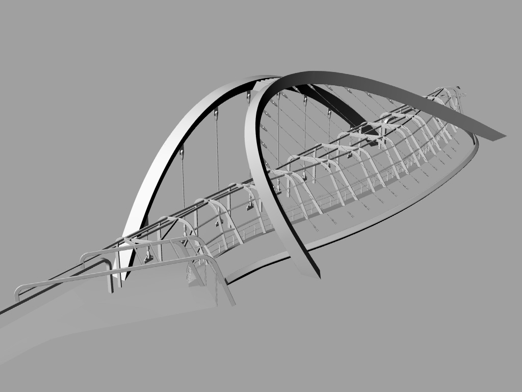 bridge 3d structure - Wembley White Horse Bridge & Public Realm by Marks Barfield Architects