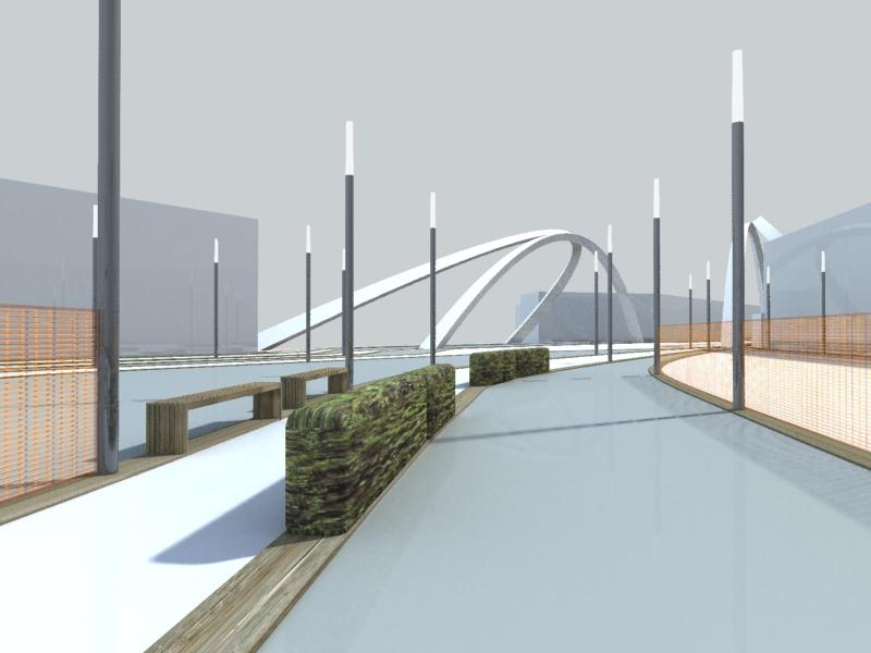 bridge access 3d view - Wembley White Horse Bridge & Public Realm by Marks Barfield Architects
