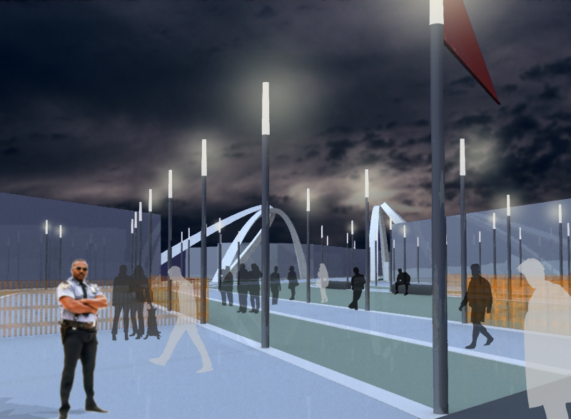 public realm 3d view - Wembley White Horse Bridge & Public Realm by Marks Barfield Architects
