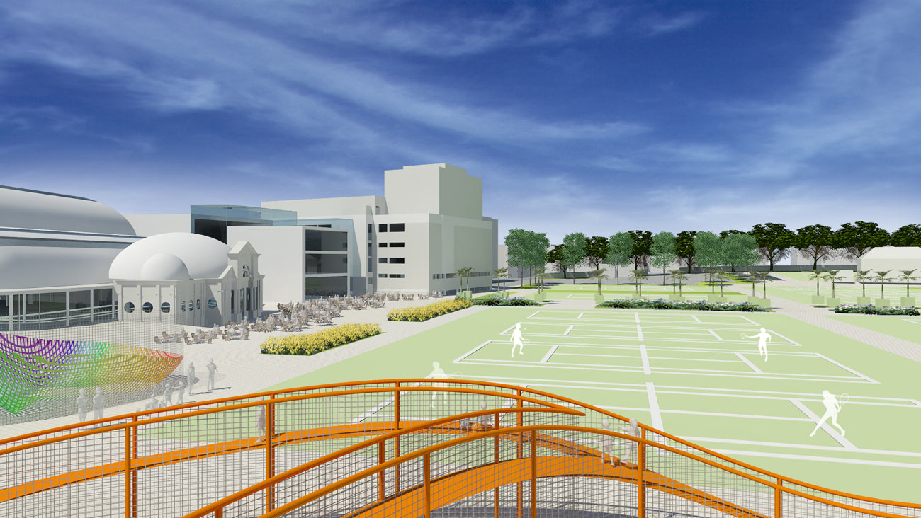 tennis courts view - Devonshire Park by Marks Barfield Architects