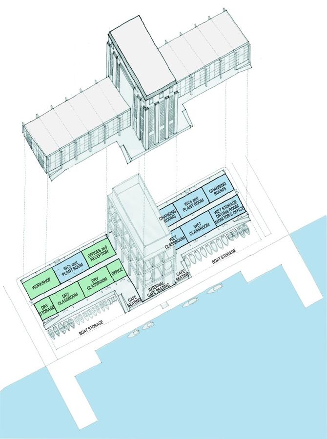 axonometric - Stoke Newington Watersports Centre by Marks Barfield Architects