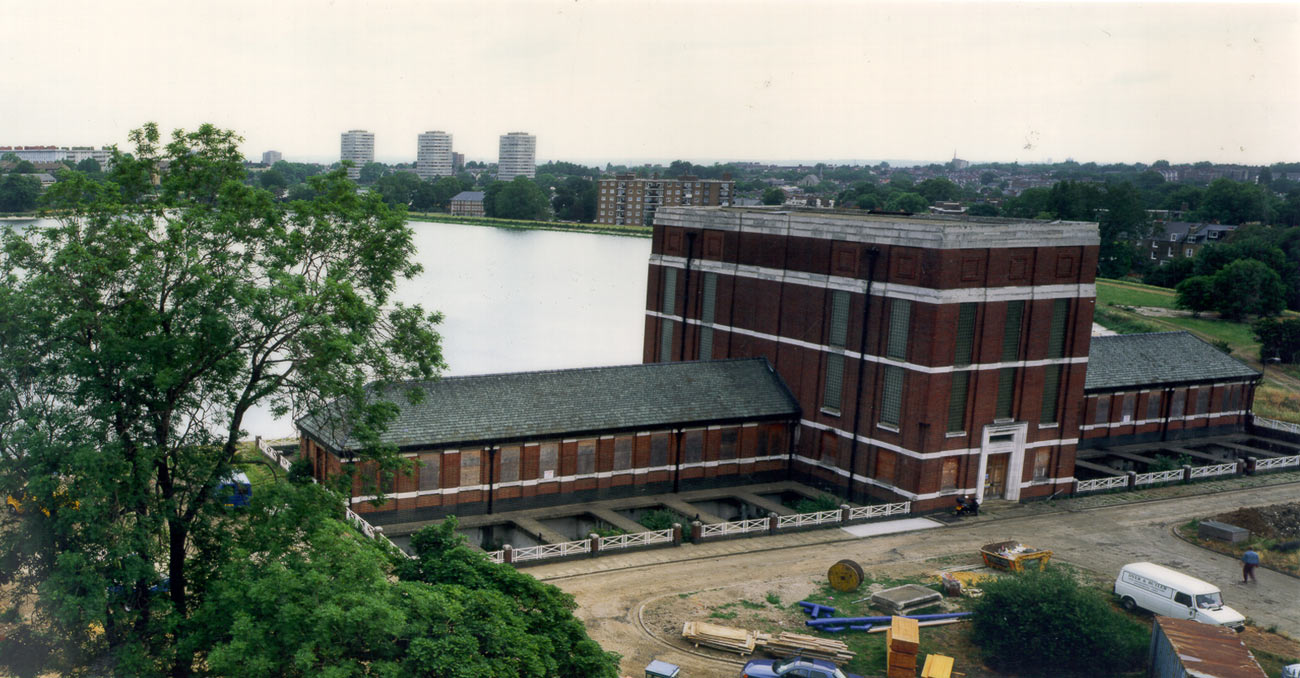 original building birds eye view - Stoke Newington Watersports Centre by Marks Barfield Architects